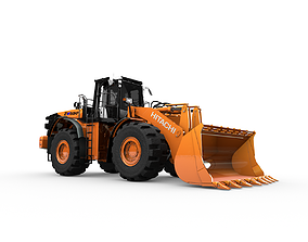 3D model Rigged Hitachi Construction Machinery ZW550 Wheel