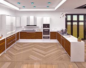 3D model Modern living room and kitchen