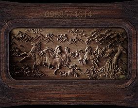 Mural Horse wood carving file stl OBJ 3D printable model 3