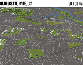 Augusta Maine USA 50x50km 3D model