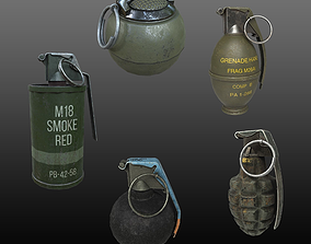 WW2 USA Grenades Collection-1 3D model