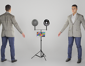 3D model Handsome young man in grey jacket ready for 1