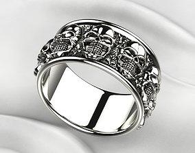 Nine Skulls Silver Ring 3D print model