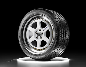 Car wheel WORK MEISTER L1 rim with TOYO PROXES 3D model 2