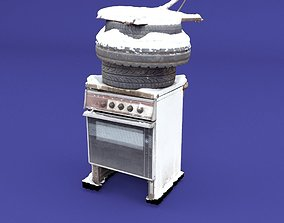 Destroyed Stove in winter 3D model