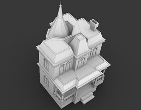 3D model game-ready Creepy Old Classical House