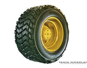 wheel with rubber 3D