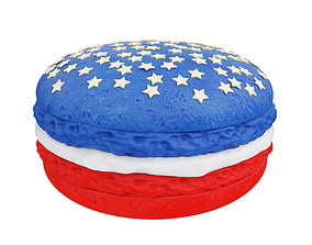 Red and blue macaroon with stars 3D