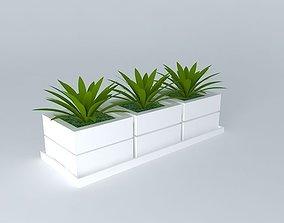 3D plant plant glass vase