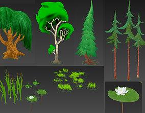 Cartoon Forest Plants 3D model