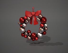Red and Silver Christmas Bauble Wreath 3D model