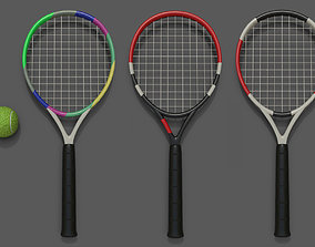tennis racket and ball 3D asset
