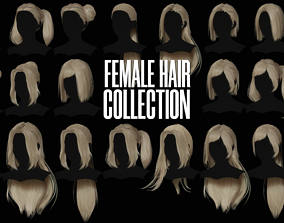 3D model rigged Female Hair Collection - Game Ready