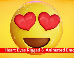Animated Love Eyes Emoji Low Poly 3D model