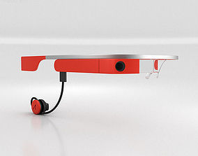 3D model Google Glass with Mono Earbud Tangerine