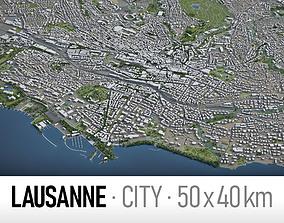 3D asset Lausanne - city and surroundings