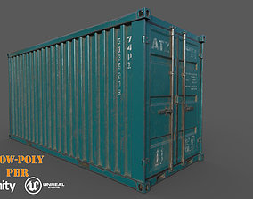 VR / AR ready Old Dark Teal Shipping Container Low-Poly 3