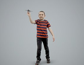 Boy Playing with an Airplane CBoy0005-HD2-O02P01-S 3D