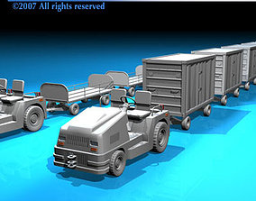 3D Airport baggage trailer