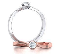 Bezel Heart style Solitaire Ring Own 3D printable model