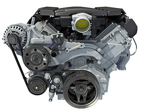 V8 Engine with Semi Interior 3D