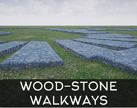 wooden and stone walkway 3D asset