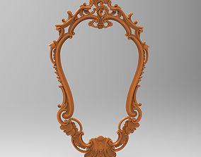 Carved CNC 3D print model of mirror frame carved