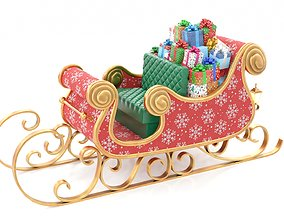 3D asset Santa Claus Sleigh with Snowflakes Pattern