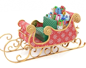 3D model Santa Claus Sleigh with Snowflakes Pattern