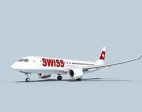 3D model Bombardier CS100 Swissair
