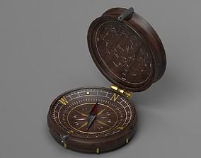 Vintage Wood Compass - Low-poly - UE4 ready - 4k 3D asset