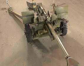 PBR Cannon 105 mm 3d model