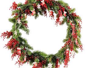 3D model Christmas wreath v2