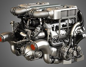 Veyron 8 Litre Engine - W16 Engine With 4 Turbochargers 3D