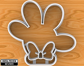 Minnie Mouse Hand with Bow Cookie Cutter 3D print model