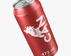 3D model Beverage Can With Water Droplets 473ml