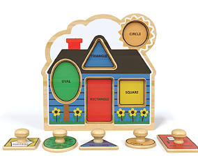 Toy wooden house 3D
