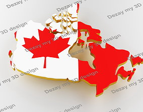 3D map of Canada Map of Canada land border with