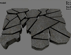rock stone set 3D model realtime