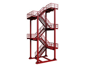 Red Industrial Stair 3D asset