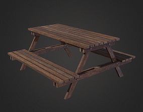 Wooden Garden Bench 3D model low-poly