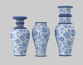 3D Blue Vase Set