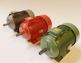 Electric Motor 3D model-Lowpoly animated realtime