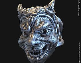 Demon skull vol2 ring 3D printable model