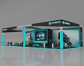 Exhibition Stall 25x11m Height 550 cm 3 Side Open 3D model