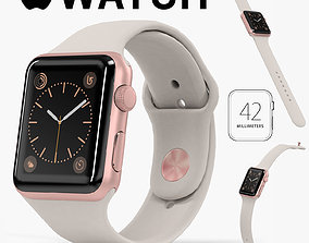 3D model Apple Watch Rose Gold Aluminum Case Stone Sport 1