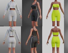 gym wear - biker shorts set collection 3D