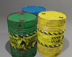 Barrel with damage 3D asset