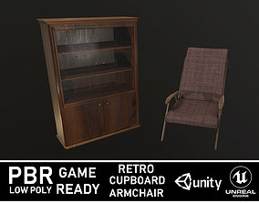 3D asset Cupboard and Armchair Retro