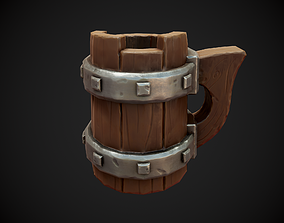 Stylized Beer Mug 3D asset game-ready